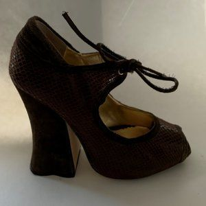 Zinc Dark Brown Glossy and Suede Chunky Heel Shoes